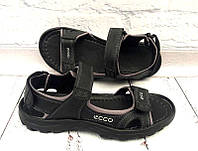 Мужские босоножки спортивные ECCO натуральные кожаные черные 0047ЕМ