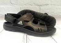 Мужские босоножки Adidas натуральные кожаные черные 0074АДМ