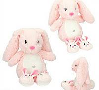 Плюшевый кролик Нелли розовый, 21 см