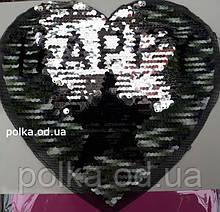 3D аппликации с пайетками -Сердце темное (23*22см)