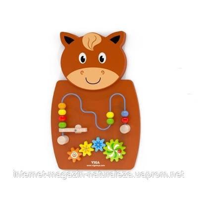 Игрушка настенная бизиборд Viga Toys Лошадь с лабиринтом, фото 2