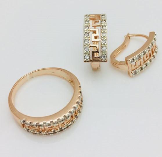 Набор Греческий серьги + кольцо, размер кольца 17, 18, 19, 20