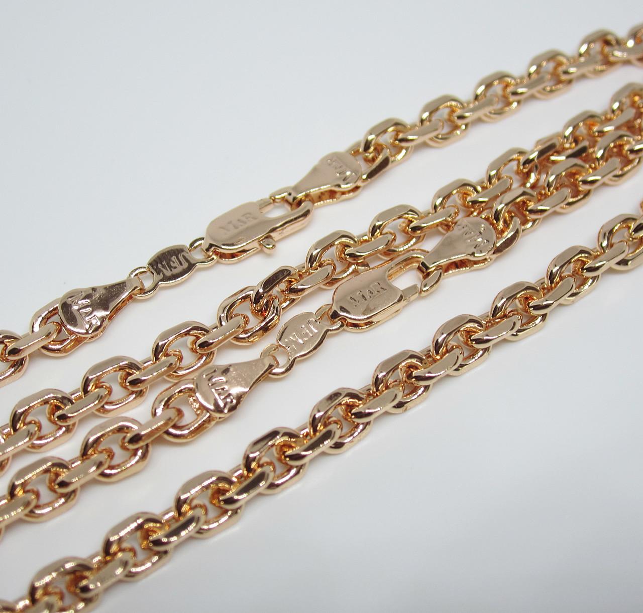 Цепочка+ браслет плетение Якорное 60 см H-5 мм браслет 21 см под советское золото