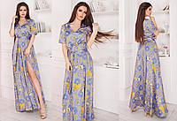 """Элегантное нарядное длинное платье 407 """"Шёлк Орнамент Клёш Разрез"""" в расцветках"""
