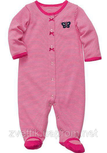 Хлопковый розовый человечек в полоску (Размер 6 мес) Carters (США)