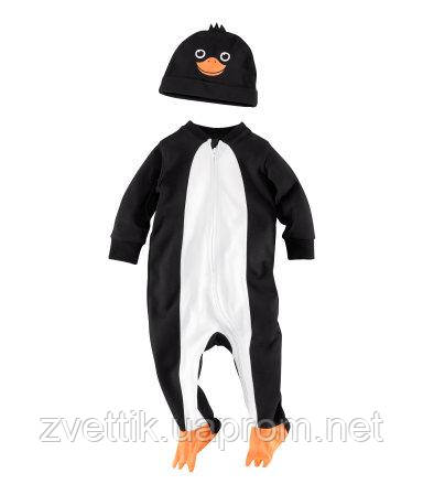 Хлопковый человечек с шапочкой пингвинчик (Размер 4-6 мес)  H&M (США)