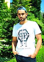 """Белая мужская футболка """"Philipp Plein"""". Р-ры: 46, 48, 50, 52."""