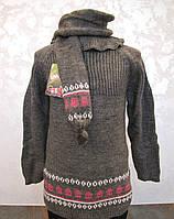 Комплект вязанный для девочек Туника+шарф+гетры