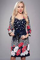 Модное женское платье в цветы с поясом