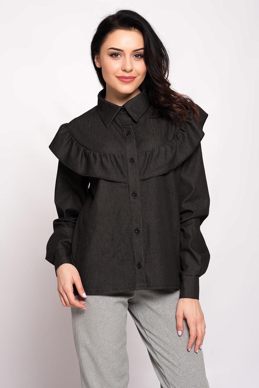 cde01b9f993 Чёрная джинсовая рубашка LOTTI с воланом - OnuK в Киеве