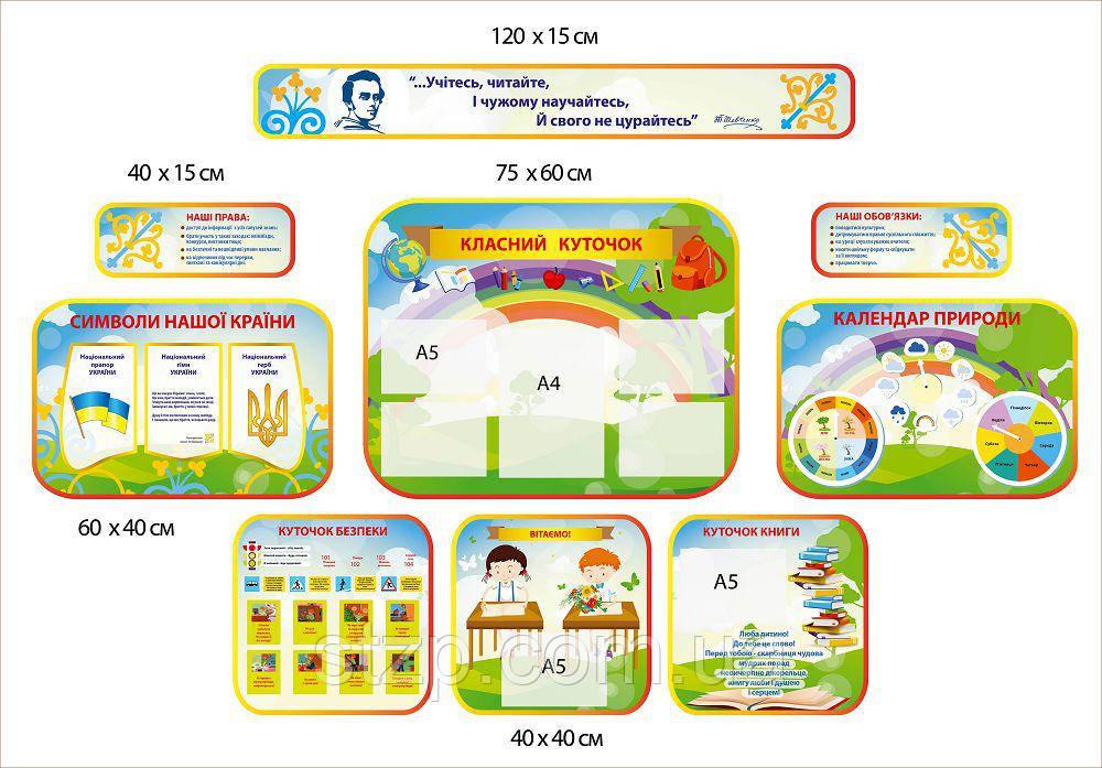 Комплект стендов для начальных классов (зелёный)
