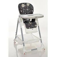 Детский стульчик для кормления, 5 точ.ремни, экокожа, выдвижной столик, на колесиках, серый Bambi (M 3822-11)