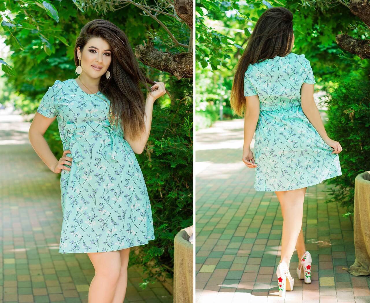 Летнее льняное платье больших размеров 50+ с коротким рукавом, в комплекте кулон   арт 5810-178