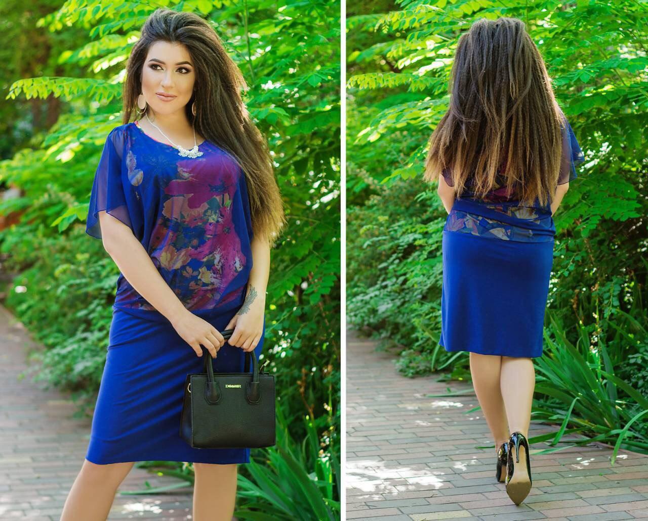 Летнее  платье больших размеров 50+ верх шифон+подкладка с принтом, низ масло арт 5812-178