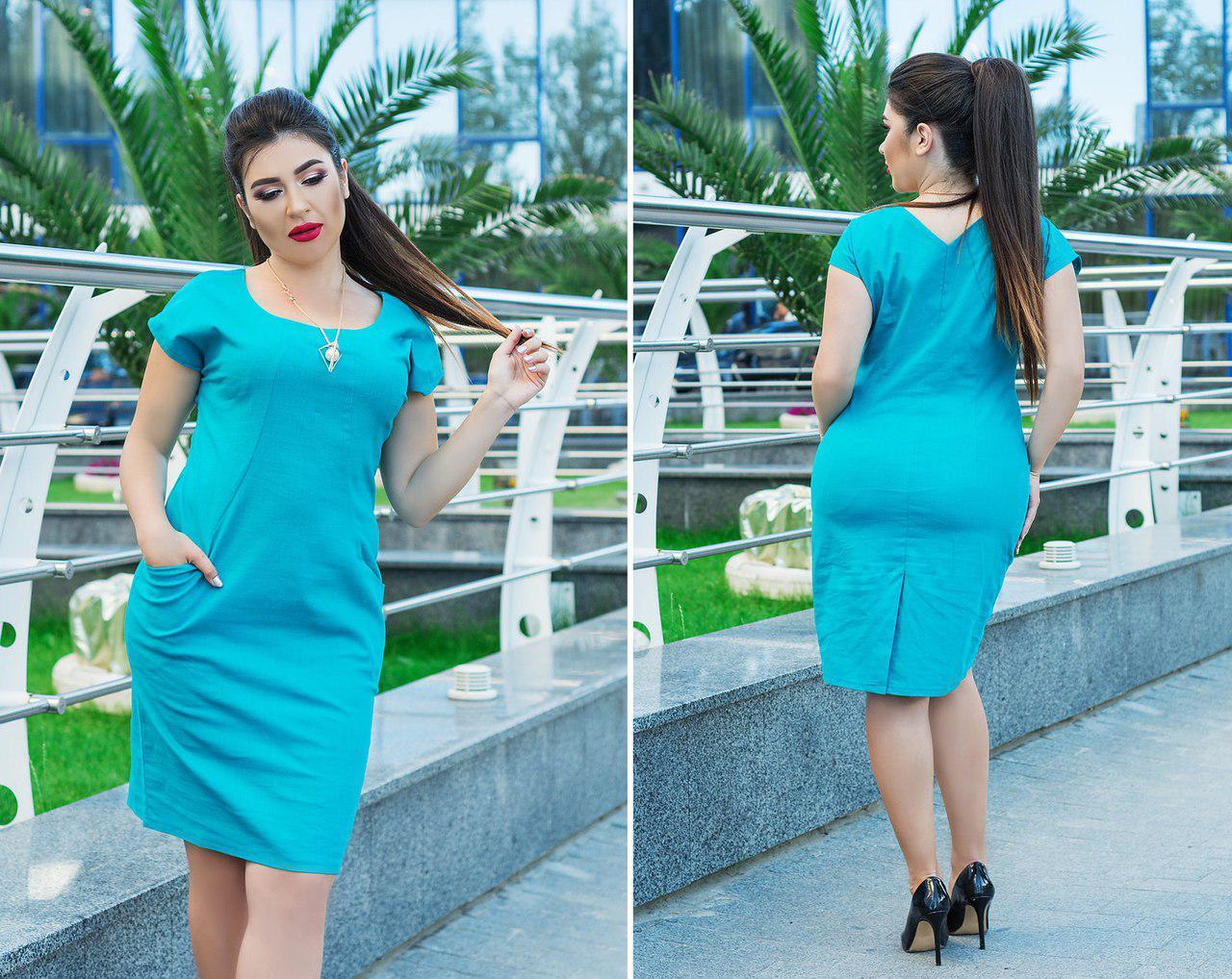 Летнее льняное платье больших размеров 50+ с украшением в комплекте, есть карманы арт 5813-178