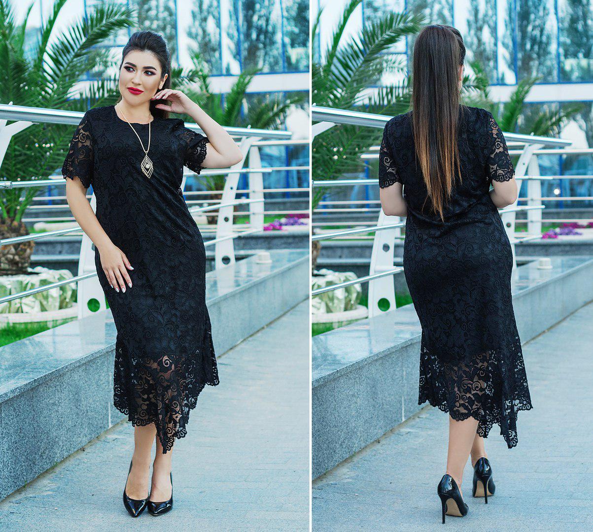Асимметричное платье больших размеров 50+ из кружева с подкладкой, черного цвета арт 5815-178