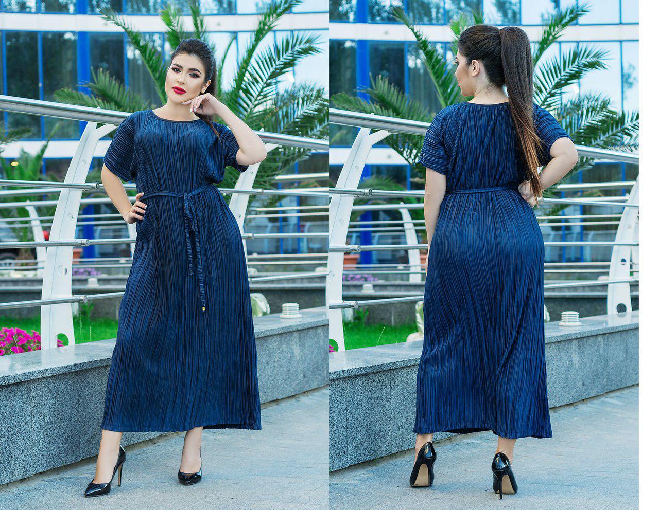Шелковое гофрированное  платье больших размеров 50+ с поясом арт 5816-178