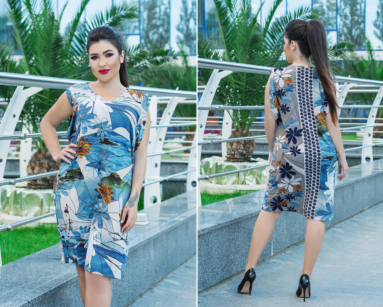 Летнее платье больших размеров 50+ с ярким принтом арт 5817-178