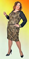 Женское платье материал трикотаж-люрикс принт с добавлением кожи и сетки