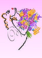 Схема для вышивки бисером «Девушка с букетом»