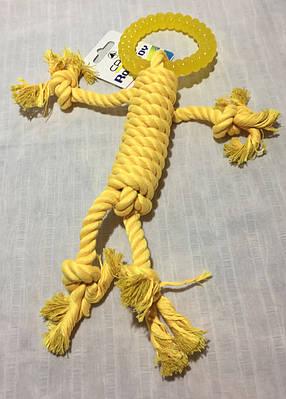 Игрушка для собак Croci веревочний человечек с кольцом 30 см