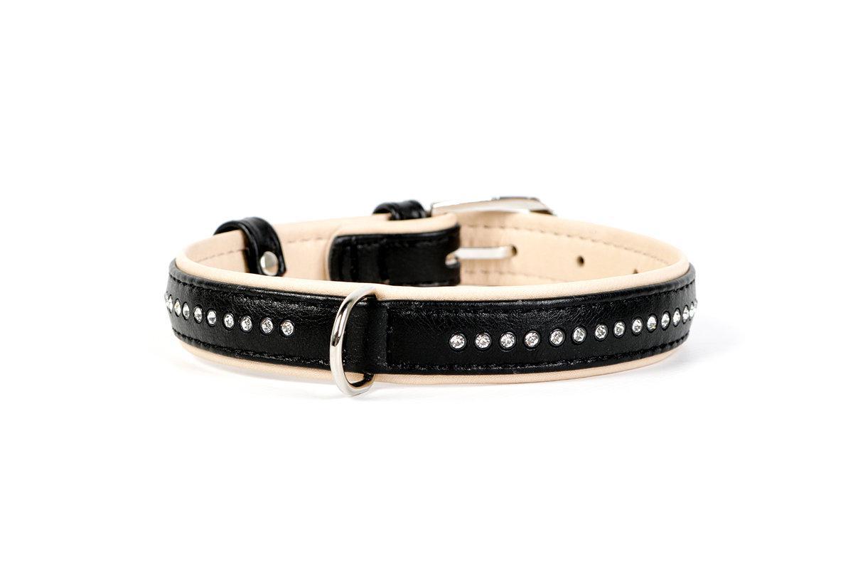 Ошейник кожа 21-27 см 15 мм стразы Brilliance Collar черный для собак