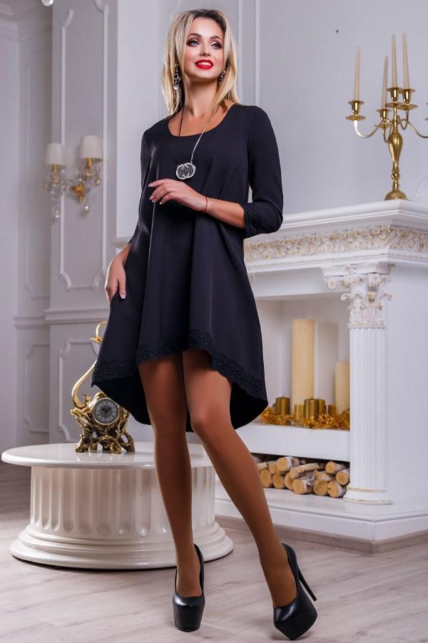 9b150468370 Черное Платье-трапеция с Кружевом Д-1346 — в Категории