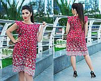 Летнее платье больших размеров 50+ с украшено рюшами и вышивкой   2 цвета  арт 5828 6210a97f60683