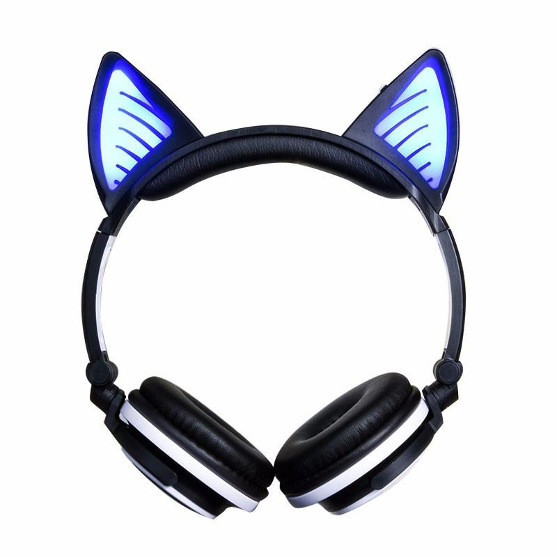 Наушники Bluetooth с кошачьими ушками LED-подсветкой, цвета в ассортименте, LINX BL108A  Черные