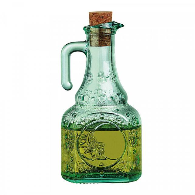 Бутылка для масла 240 мл. с корковой крышкой, стеклянная зеленная Bormioli Rocco