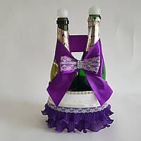 Украшение свадебного шампанского в фиолетовой цвете