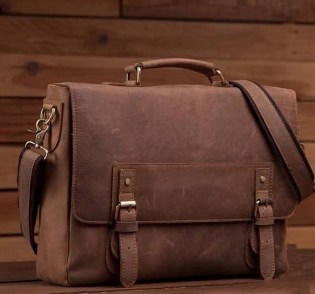 8f81216e3575 Презентабельный стильный кожаный коричневый рыжий портфель casual винтаж  handmade: продажа, цена в Киеве. портфели деловые от