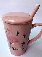 """Чашка с ложкой """"Розовый Фламинго"""" керамическая 300 мл"""