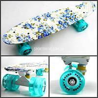 Скейт Скейтборд PENNY 22 BLUE FLOWERS, колеса светящиеся