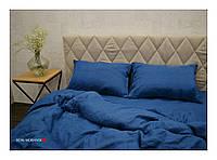 """Евро комплект из мягкого 100% льна """"Loft, Dark Blue"""", фото 1"""