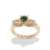 Золотое кольцо с цаворитом и бриллиантами 2231429