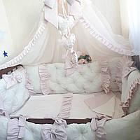 Комплект в детскую кроватку - Розовый с балдахином, фото 1
