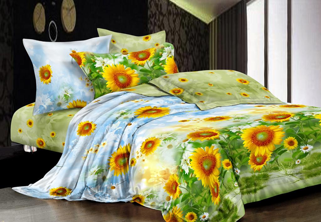 Двуспальный с евро простынью комплект Подсолнухи
