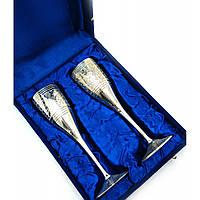 Бокалы бронзовые посеребренные н-р 2 шт высота 20 см в подарочной коробке