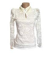 Кружевная блузка белая нарядная
