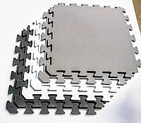 Коврик-пазл (мягкий пол) ,Модульный настил для детских комнат в серых,белых и черных тонах, 50х50х1см