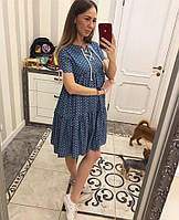 Женское джинсовое платье в контрастный горошек