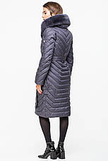 Теплая женская зимняя куртка BTF 1729-2 с натуральным мехом (графит) 54 размер, фото 2