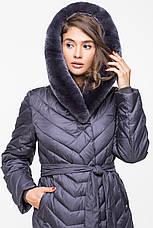 Теплая женская зимняя куртка BTF 1729-2 с натуральным мехом (графит) 54 размер, фото 3