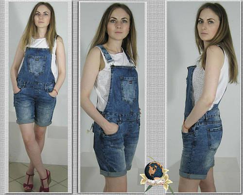 Комбинезон женский джинсовый Version в стиле Бойфренд шорты.
