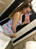 "Хлопковая пижамка с шортиками ""Фламинго"", фото 1"