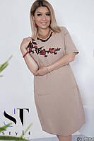 Льняное платье кофейного цвета с карманами