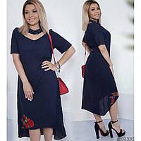 Сукня жіноча літня довжини міді з льону + вишивка cd525cbe4defc