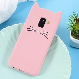 Чехол накладка 3D для Samsung Galaxy A8 2018 A530 силиконовый, Cat, розовый