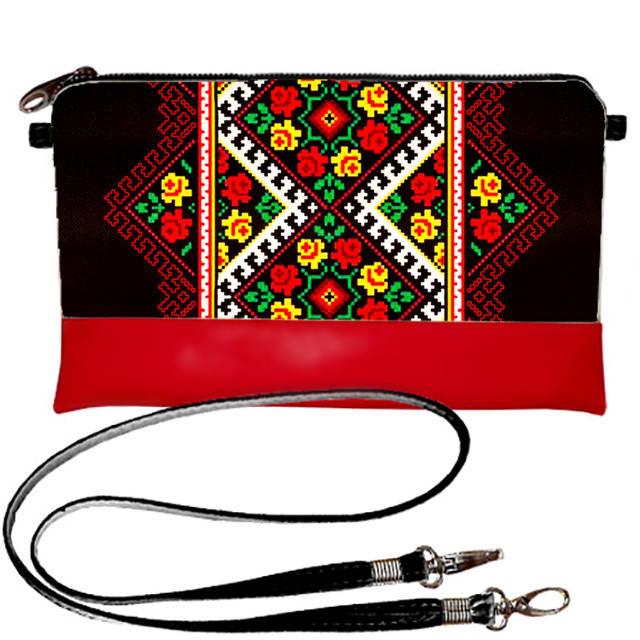 Клатч женский маленький с Вышивкой в украинском стиле